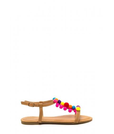 Incaltaminte Femei CheapChic Pom Reader Embellished T-strap Sandals Tan