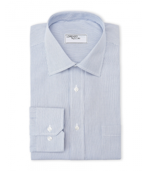Imbracaminte Barbati Lorenzo Uomo Blue White Thin Stripe Regular Fit Dress Shirt Blue White