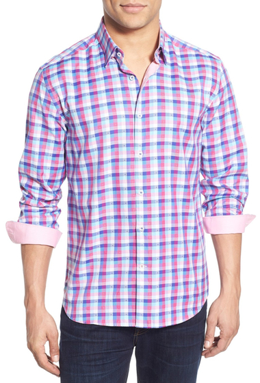 Imbracaminte Barbati Stone Rose Check Long Sleeve Twill Sport Shirt Big Tall PINK