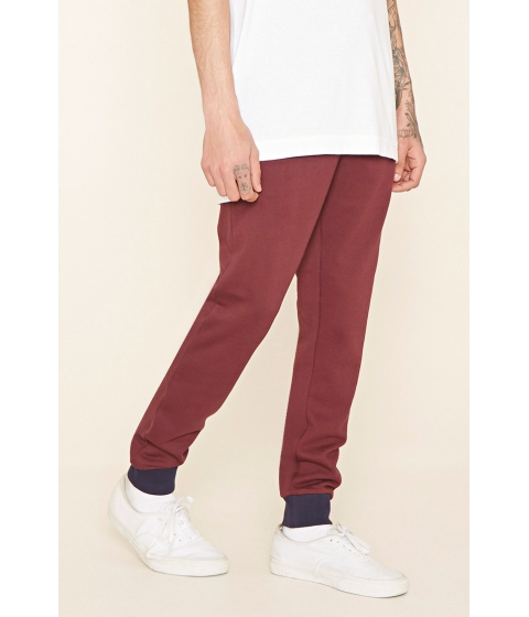 Imbracaminte Barbati Forever21 Cotton-Blend Drawstring Joggers Burgundynavy