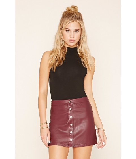 Imbracaminte Femei Forever21 Button-Front Faux Leather Skirt Burgundy