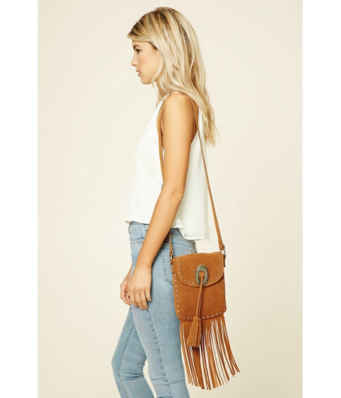 Imbracaminte Femei Forever21 Stud and Fringe Suede Crossbody Tan
