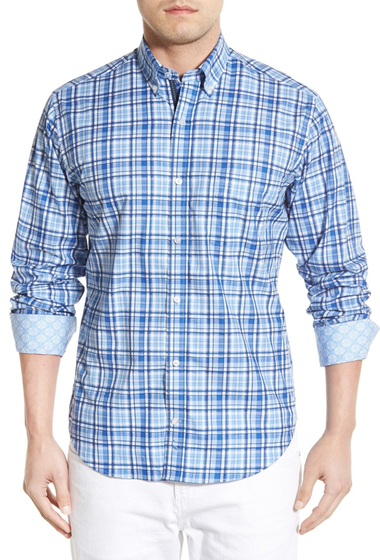 Imbracaminte Barbati TailorByrd Sequoia Regular Fit Long Sleeve Plaid Sport Shirt Big Tall BLUE