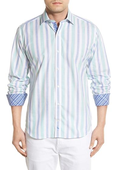 Imbracaminte Barbati TailorByrd Tanoak Regular Fit Long Sleeve Stripe Sport Shirt Big Tall GREEN
