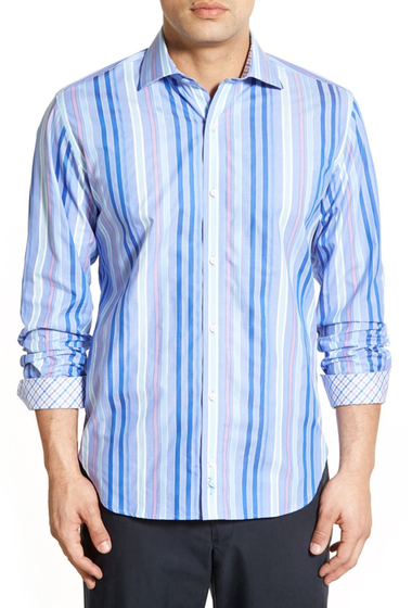 Imbracaminte Barbati TailorByrd Buckthorn Regular Fit Stripe Sport Shirt Big Tall PERI BLUE