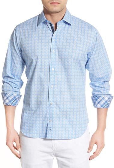Imbracaminte Barbati TailorByrd Poplar Regular Fit Long Sleeve Print Sport Shirt Big Tall LIGHT BLUE