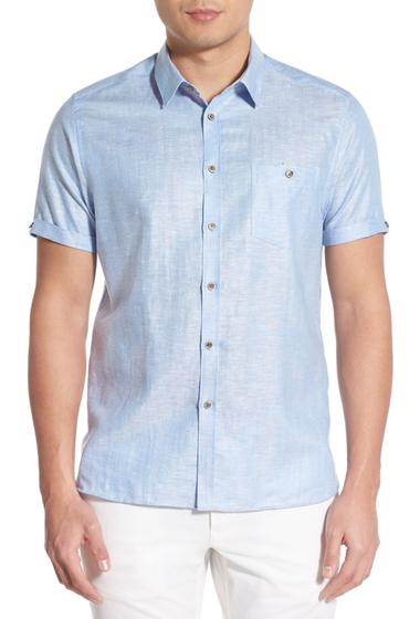 Imbracaminte Barbati Ted Baker London Sholin Modern Trim Fit Short Sleeve Woven Shirt BLUE
