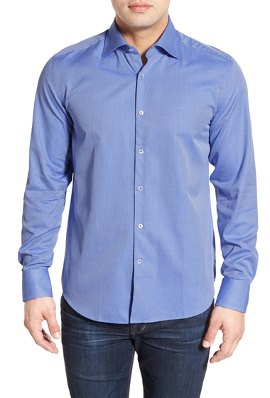 Imbracaminte Barbati Stone Rose Classic Fit Diamond Jacquard Sport Shirt Big Tall SKY BLUE