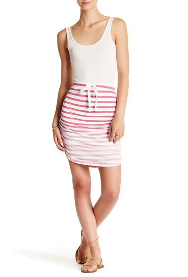 Imbracaminte Femei Splendid Shirred Striped Pencil Skirt FUSIA ROSE