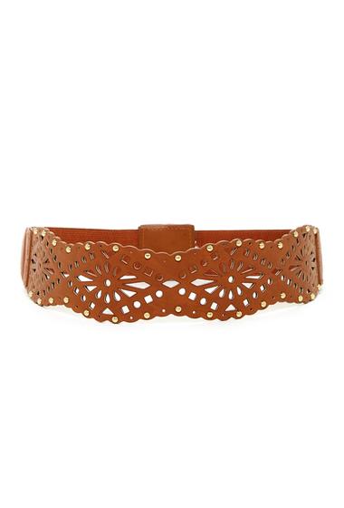 Accesorii Femei Betsey Johnson Perforated Elastic Waist Belt COGNAC
