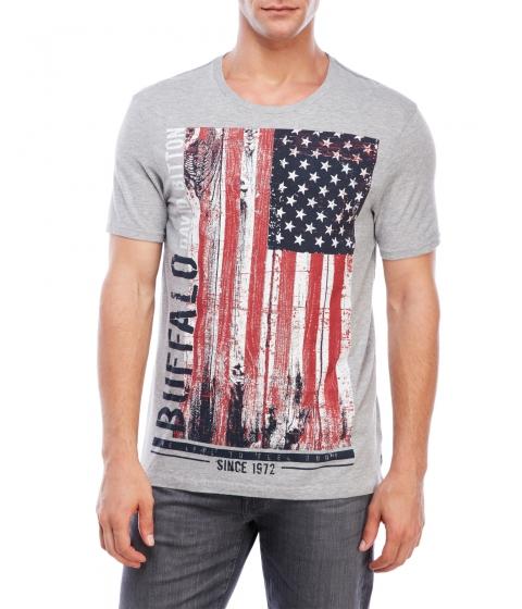 Imbracaminte Barbati Buffalo David Bitton Nafon Flag Graphic T-Shirt Light Heather Grey