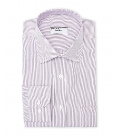 Imbracaminte Barbati Lorenzo Uomo Purple White Thin Stripe Regular Fit Dress Shirt Purple White