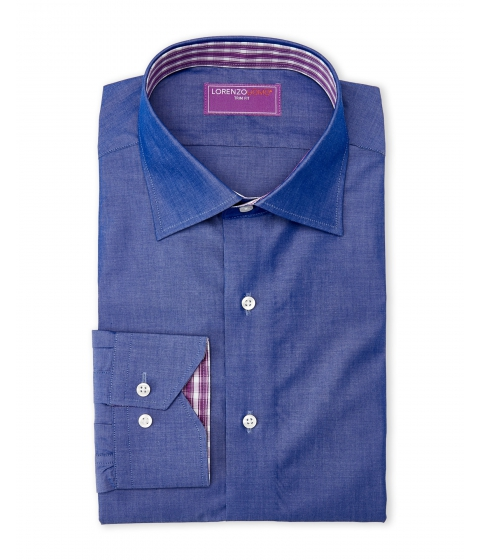 Imbracaminte Barbati Lorenzo Uomo Chambray Pink Plaid Trim Fit Dress Shirt Chambraypink
