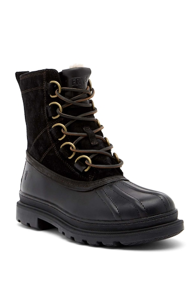 Incaltaminte Barbati Frye Riley D-Ring Genuine Shearling Lined Waterproof Boot BLACK