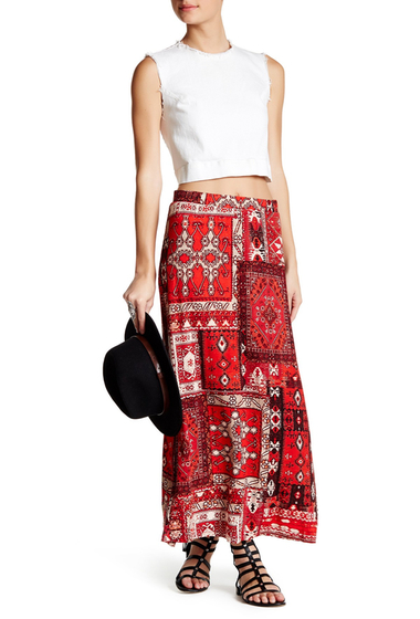 Imbracaminte Femei Angie Soft Knit Southwest Maxi Skirt RED