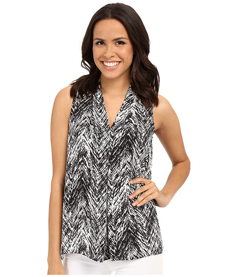 Imbracaminte Femei Vince Camuto Sleeveless Textured Vibe V Blouse w Front Pleat Rich Black