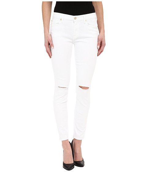 Imbracaminte Femei 7 For All Mankind The Ankle Skinny w Knee Holes in Clean White 2 Clean White 2