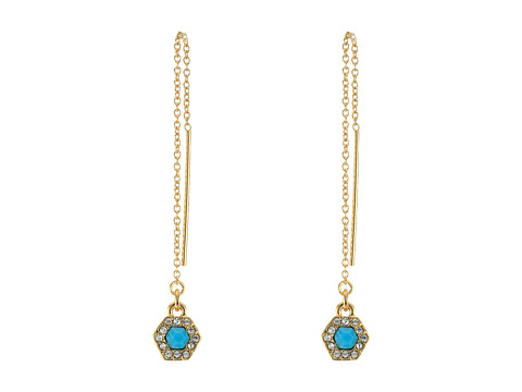Bijuterii Femei Rebecca Minkoff Pave Gem Threader Earrings 12K with Turquoise and Crystal