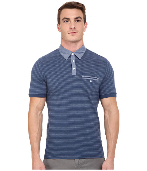 Imbracaminte Barbati Original Penguin Short Sleeve Shadow Stripe Polo with Chambray Collar Dark Denim