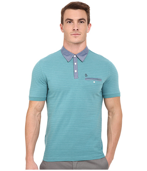Imbracaminte Barbati Original Penguin Short Sleeve Shadow Stripe Polo with Chambray Collar Brittany Blue