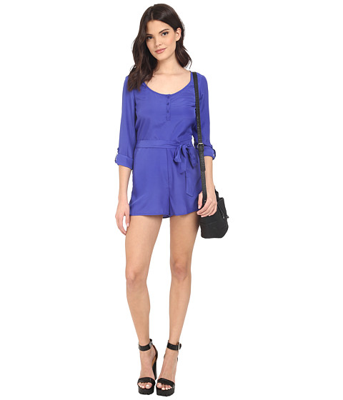 Imbracaminte Femei BB Dakota Patty Crepon Button Front Romper Royal Blue