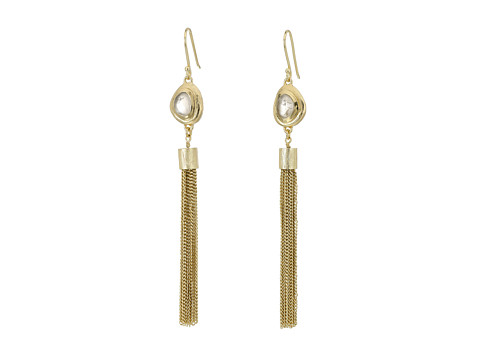 Bijuterii Femei Cole Haan Gold Tassel amp Pink Stone Drop Earrings Brushed GoldRose Quartz