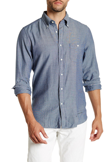 Imbracaminte Barbati Gant Rugger R Indigo Oxford Mini Stripe Long Sleeve Trim Fit Shirt DARK INDIGO
