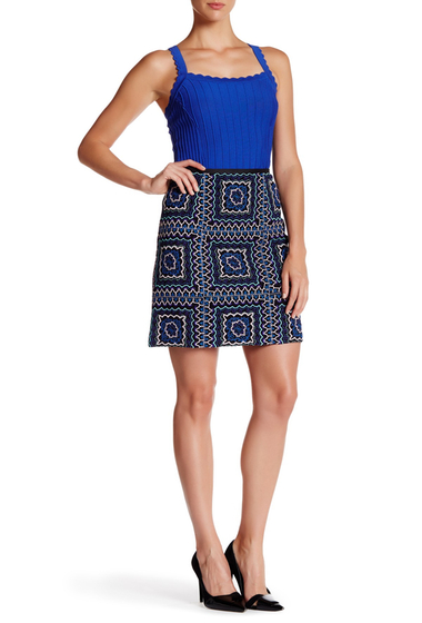 Imbracaminte Femei Nanette Lepore Patchwork Mini Skirt BLACK MULTI