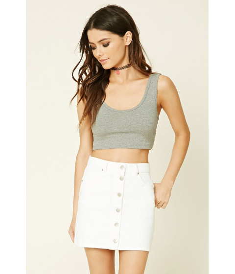 Imbracaminte Femei Forever21 Ribbed Trim Crop Top Heather grey