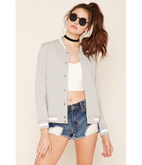 Imbracaminte Femei Forever21 Snap-Buttoned Varsity Jacket Heather grey