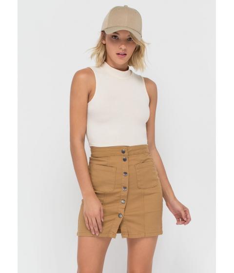 Imbracaminte Femei CheapChic Cute As A Button Denim Miniskirt Khaki