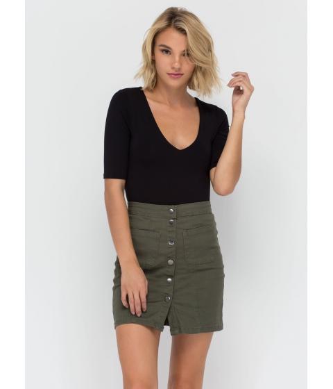 Imbracaminte Femei CheapChic Cute As A Button Denim Miniskirt Olive