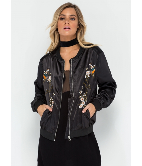 Imbracaminte Femei CheapChic Bloom For Growth Embroidered Bomber Black
