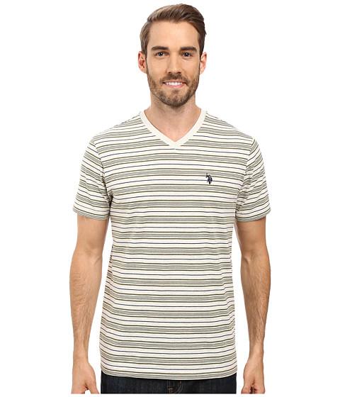 Imbracaminte Barbati US Polo Assn Multi Stripe V-Neck T-Shirt Oatmeal Heather