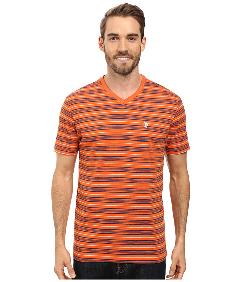 Imbracaminte Barbati US Polo Assn Multi Stripe V-Neck T-Shirt Pumpkin Heather