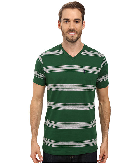 Imbracaminte Barbati US Polo Assn Balanced Striped V-Neck T-Shirt Essex Green