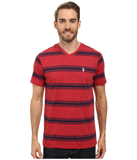 Imbracaminte Barbati US Polo Assn Balanced Striped V-Neck T-Shirt Red Heather