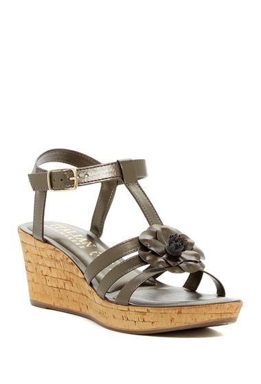 Incaltaminte Femei Italian Shoemakers Strappy Floral Wedge Sandal TAUPE
