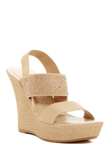 Incaltaminte Femei Italian Shoemakers Microstud Wedge Sandal NATURAL