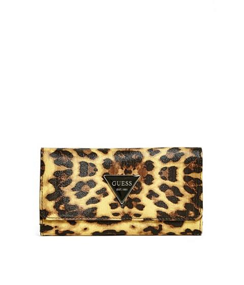 Accesorii Femei GUESS Abree Slim Wallet leopard
