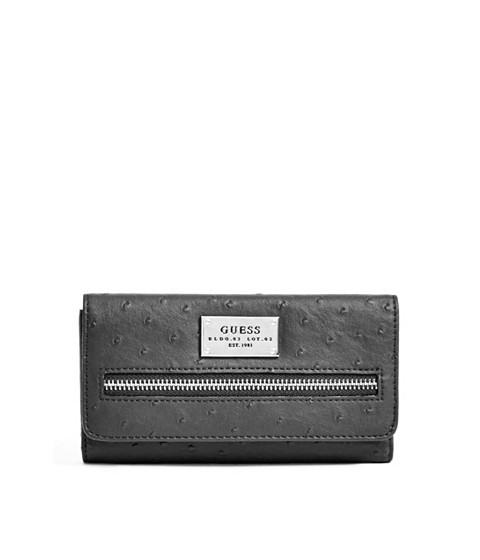 Accesorii Femei GUESS Lenora Ostrich-Embossed Slim Wallet black