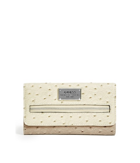 Accesorii Femei GUESS Lenora Ostrich-Embossed Slim Wallet stone multi