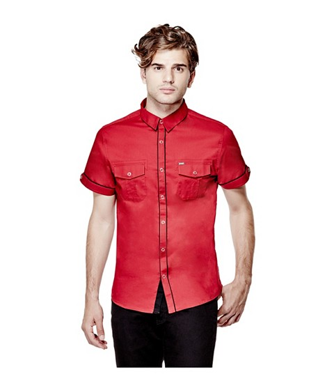 Imbracaminte Barbati GUESS Darian Short-Sleeve Poplin Shirt jubilee red