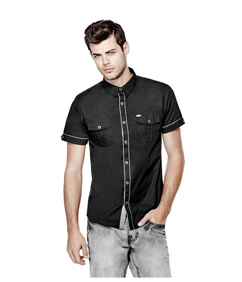 Imbracaminte Barbati GUESS Darian Short-Sleeve Poplin Shirt jet black