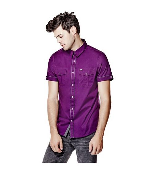 Imbracaminte Barbati GUESS Darian Short-Sleeve Poplin Shirt castelao