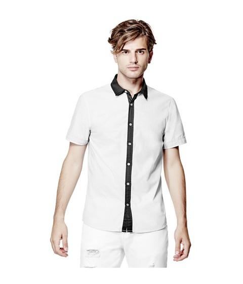 Imbracaminte Barbati GUESS Genaro Short-Sleeve Poplin Shirt true white