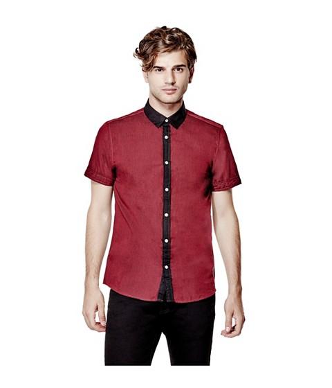 Imbracaminte Barbati GUESS Genaro Short-Sleeve Poplin Shirt havana red