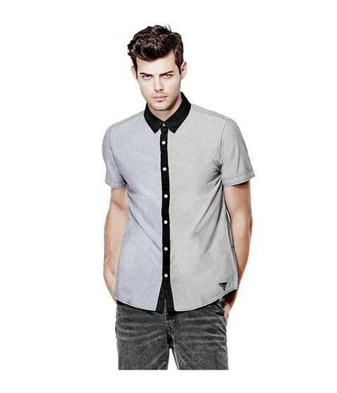 Imbracaminte Barbati GUESS Genaro Short-Sleeve Poplin Shirt jet black