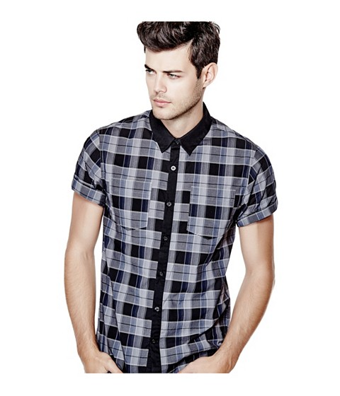 Imbracaminte Barbati GUESS Christos Short-Sleeve Plaid Shirt grey steel