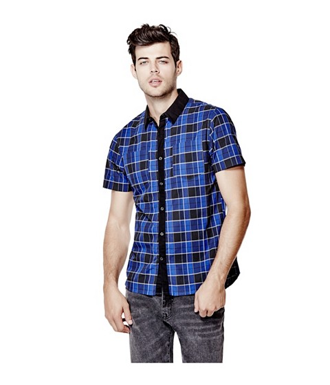 Imbracaminte Barbati GUESS Christos Short-Sleeve Plaid Shirt nightfall blue